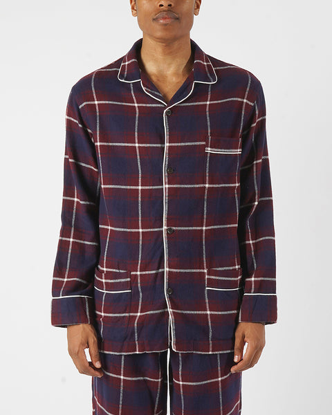 flannel pajama shirt plaid blue bordeaux model front