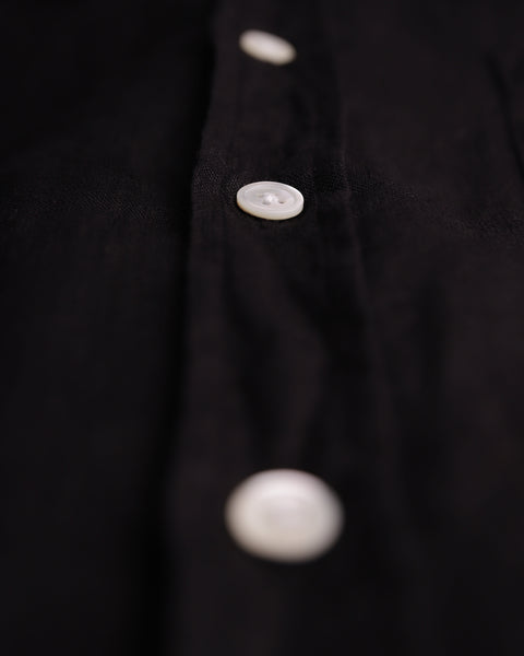 black linen long sleeve shirt detail button