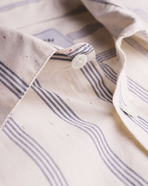 striped blue short sleeve shirt detail collar