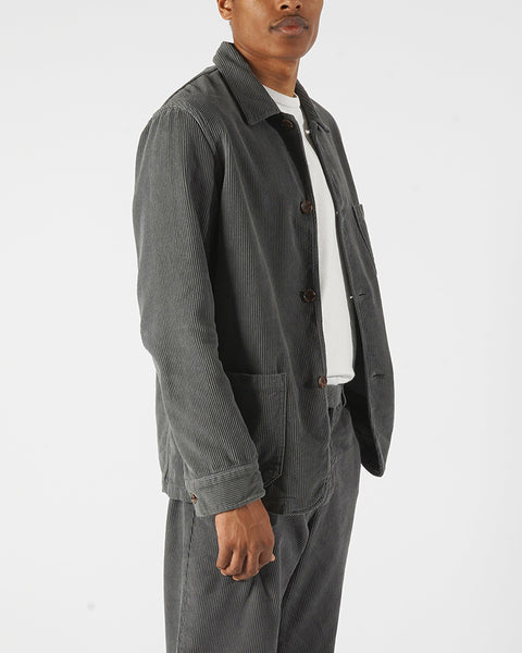 corduroy jacket grey model side