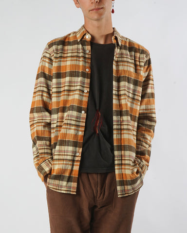 flannel shirt plaid orange brown model front