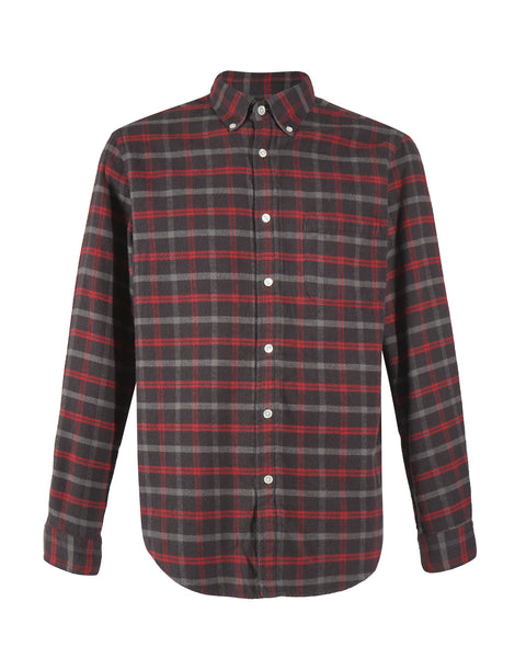 flannel shirt plaid brown red bust front