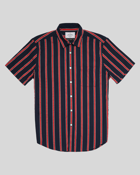 red blue striped short sleeve shirt productfront