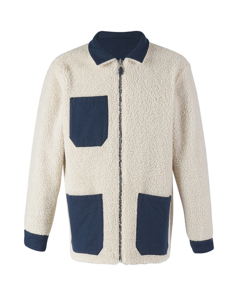 sherpa reversible jacket blue bust front