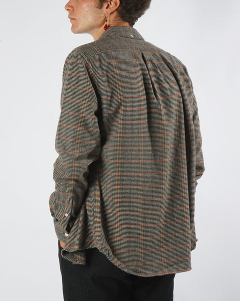 flannel shirt striped grey orange model back