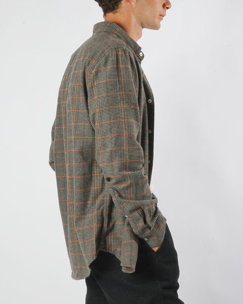 flannel shirt striped grey orange model side