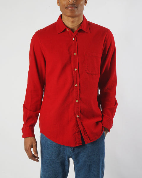 flannel shirt red model front