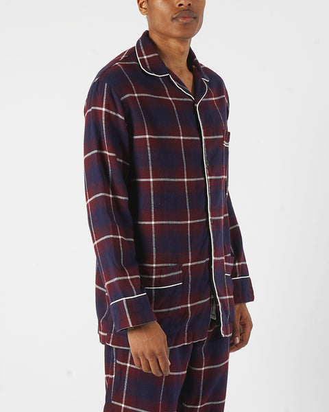 flannel pajama shirt plaid blue bordeaux model side