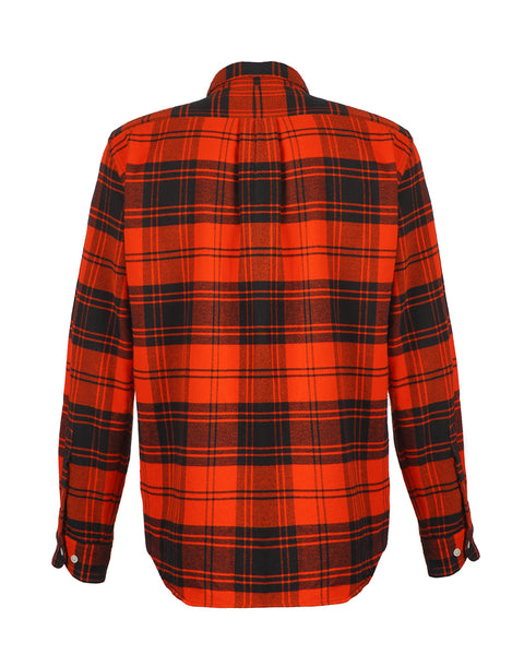 flannel shirt plaid red bust back