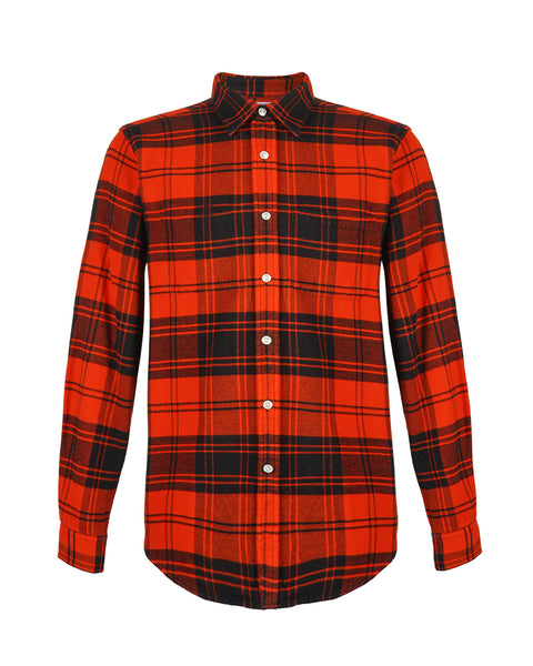 flannel shirt plaid red bust front