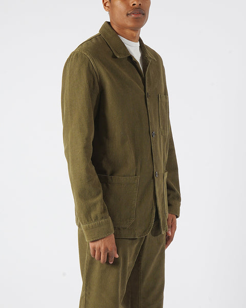 corduroy jacket olive model side