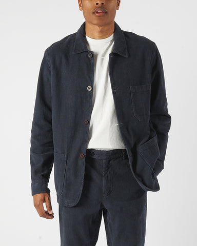 corduroy jacket navy blue model front