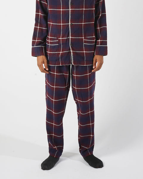 flannel pajama trousers plaid blue bordeaux model front