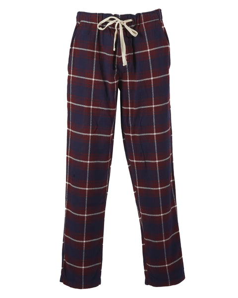 flannel pajama trousers plaid blue bordeaux bust front
