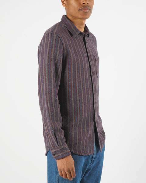 striped long sleeve shirt blue bordeaux model side