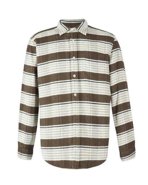 moss stripe shirt model product front