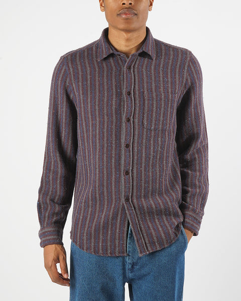 striped long sleeve shirt blue bordeaux model front