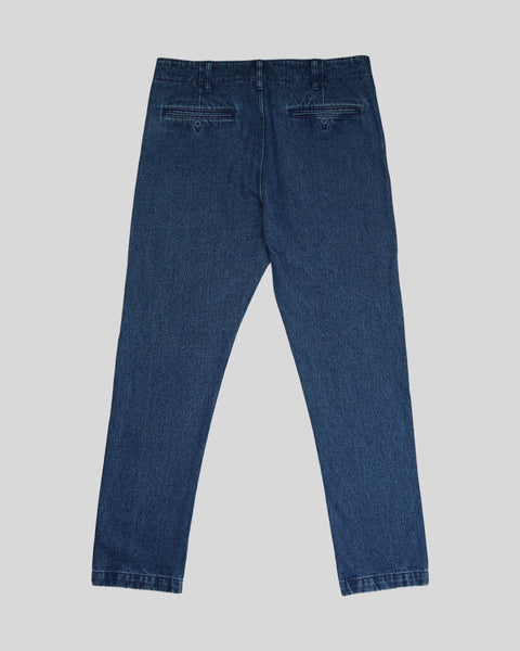 blue denim trousers product back