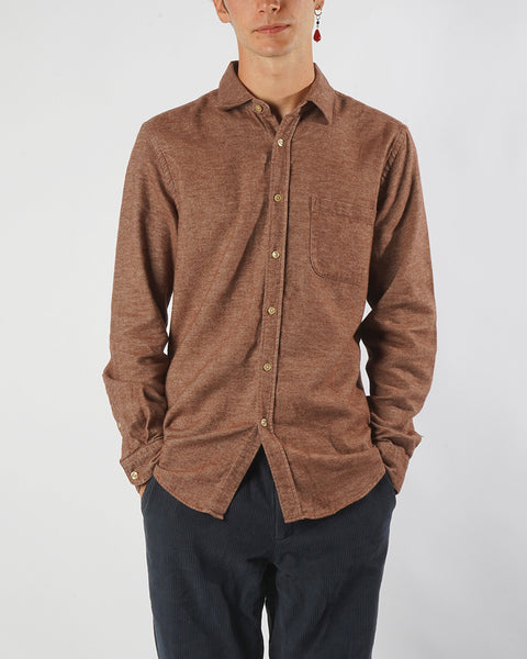 flannel shirt cinnamon model front