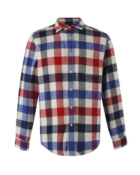 flannel shirt gingham red blue bust front