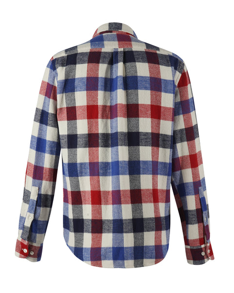 flannel shirt gingham red blue bust back