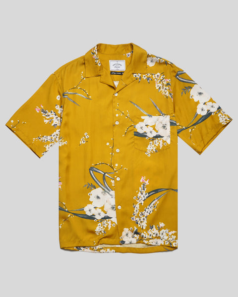 flower yellow short sleeve shirt product front
