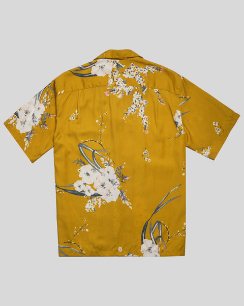 flower yellow short sleeve shirt product back