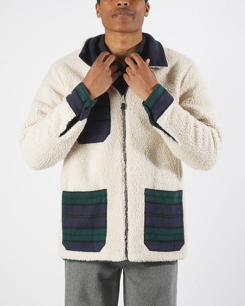 reversible jacket sherpa model front