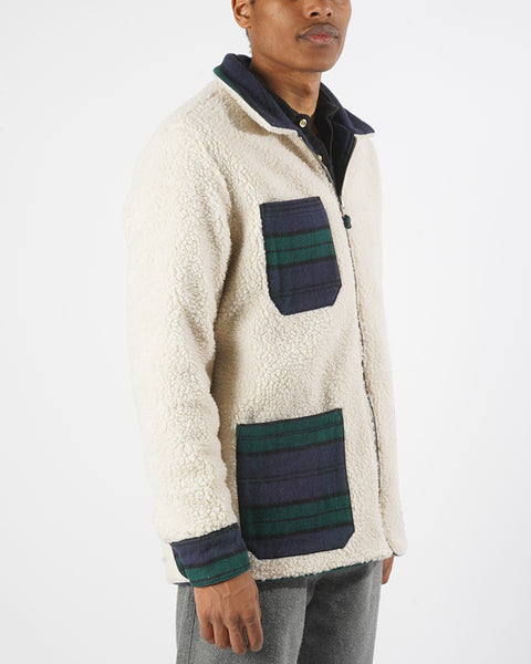 reversible jacket sherpa model side