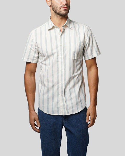 striped blue short sleeve shirt model front