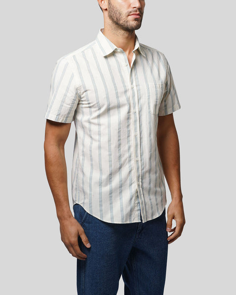 striped blue short sleeve shirt model side