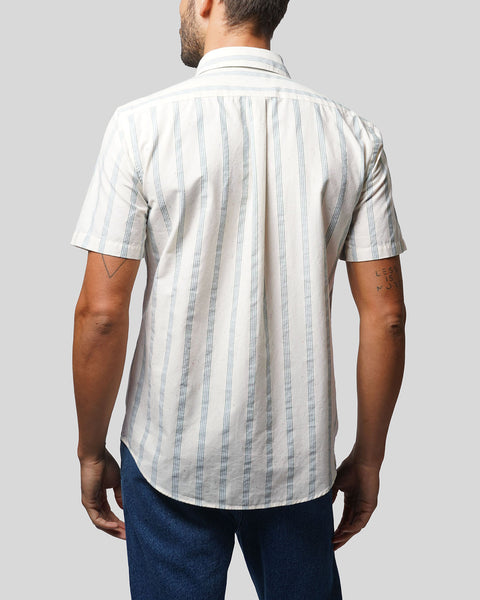 striped blue short sleeve shirt model back