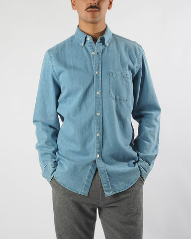 denim shirt blue model front