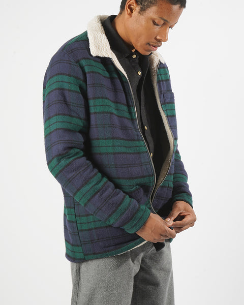 reversible jacket flannel green blue model changing