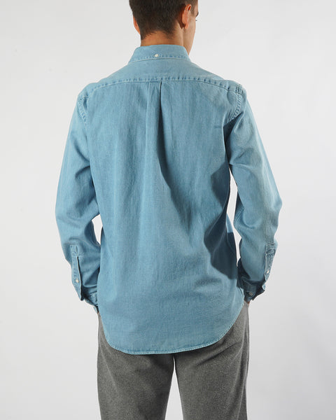 denim shirt blue model back