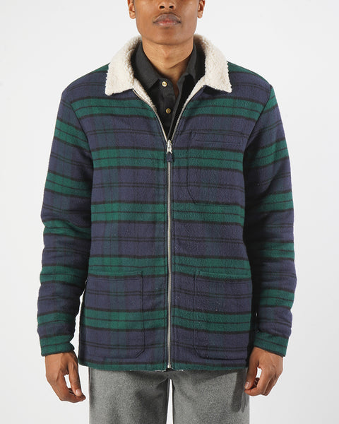 reversible jacket flannel green blue model front