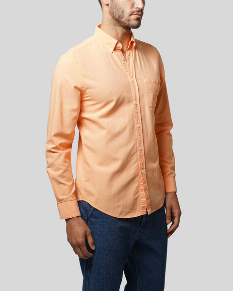 peach long sleeve oxford shirt model side