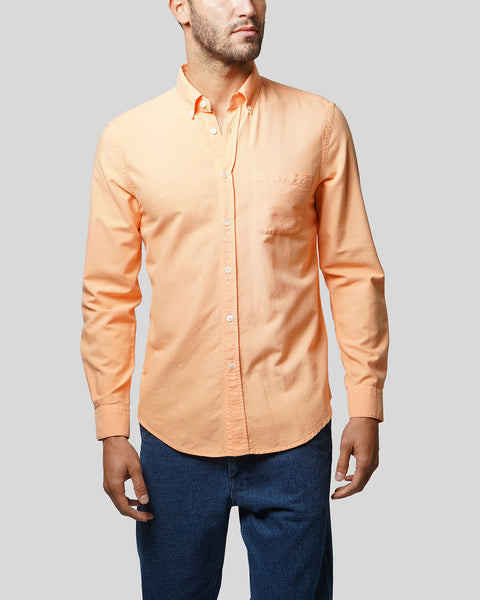 peach long sleeve oxford shirt model front