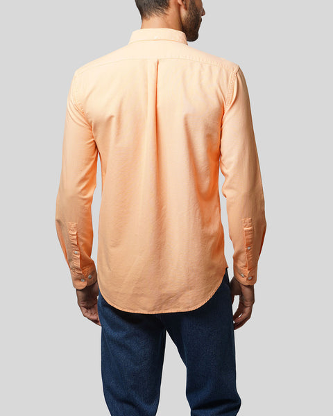 peach long sleeve oxford shirt model back