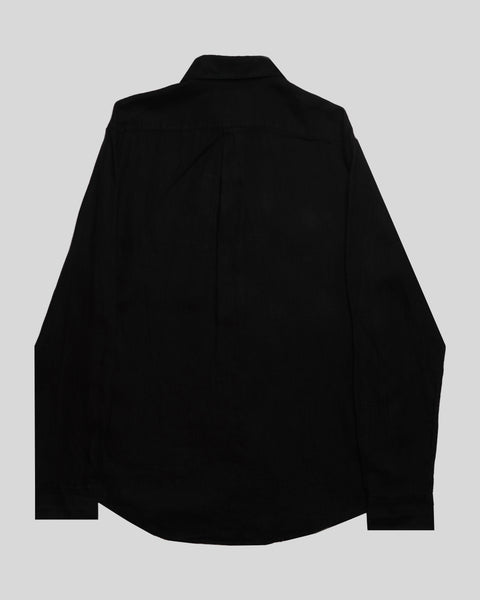black linen long sleeve shirt product back