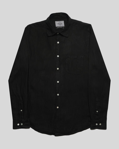 black linen long sleeve shirt product front