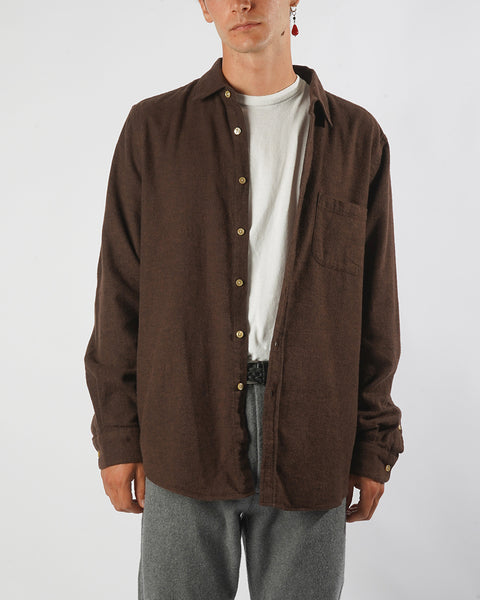 flannel shirt brown model front
