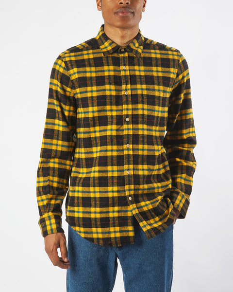 flannel shirt, plaid black and yellow, front