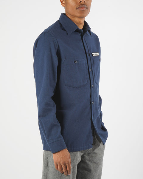 flannel jacket navy model side
