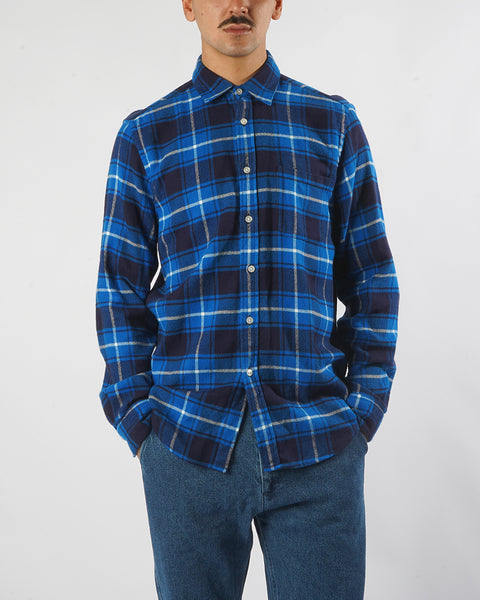 flannel shirt plaid blue white model front