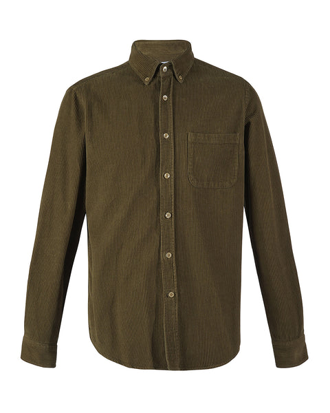 corduroy shirt olive green product front
