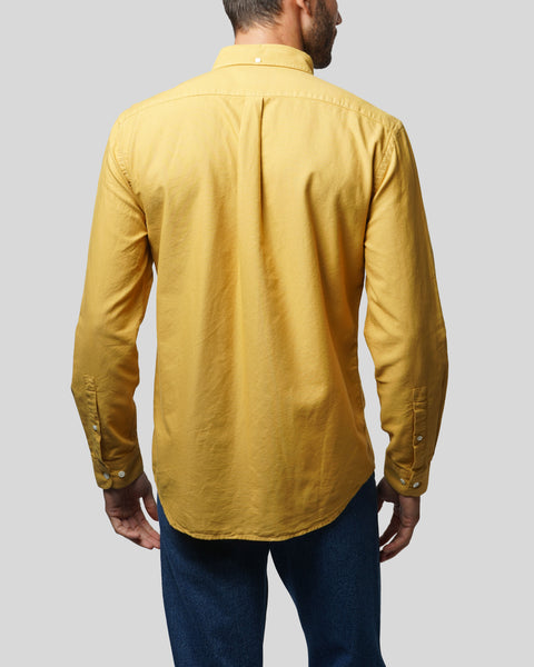 mustard long sleeve shirt oxford model back