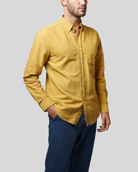 mustard long sleeve shirt oxford model side