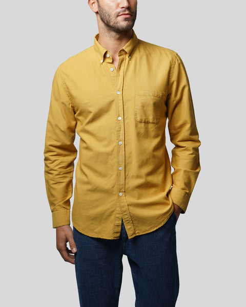 mustard long sleeve shirt oxford model front