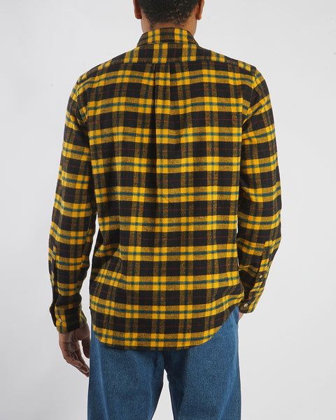 flannel shirt, plaid black and yellow, back